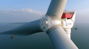 A visualisation of MingYang Smart Energy's MySE 16.0-242, the world's biggest offshore wind turbine. Credit: MingYang website